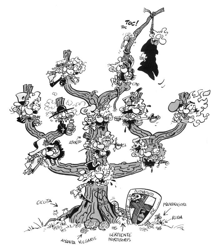 Árbol humorístico, descendente invertido